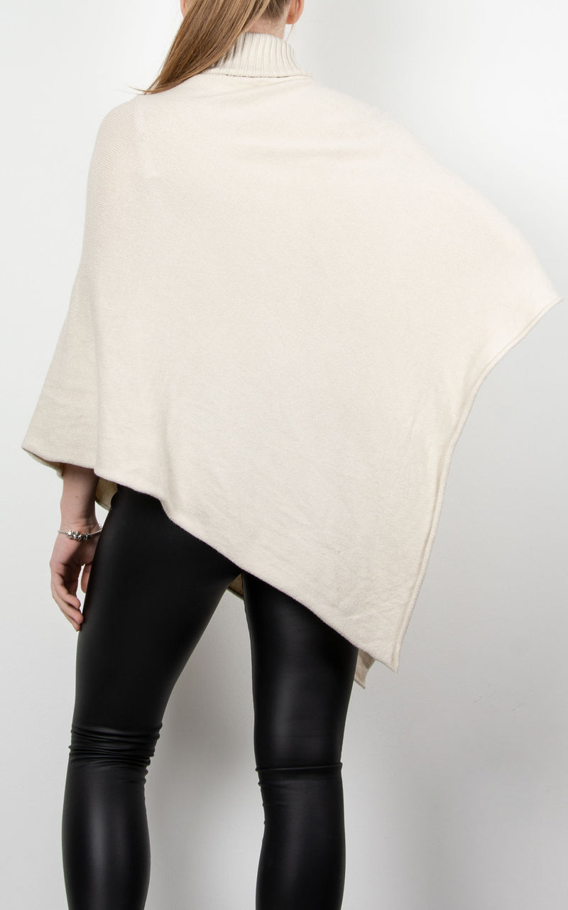 Poncho Roll Neck Star | Beige