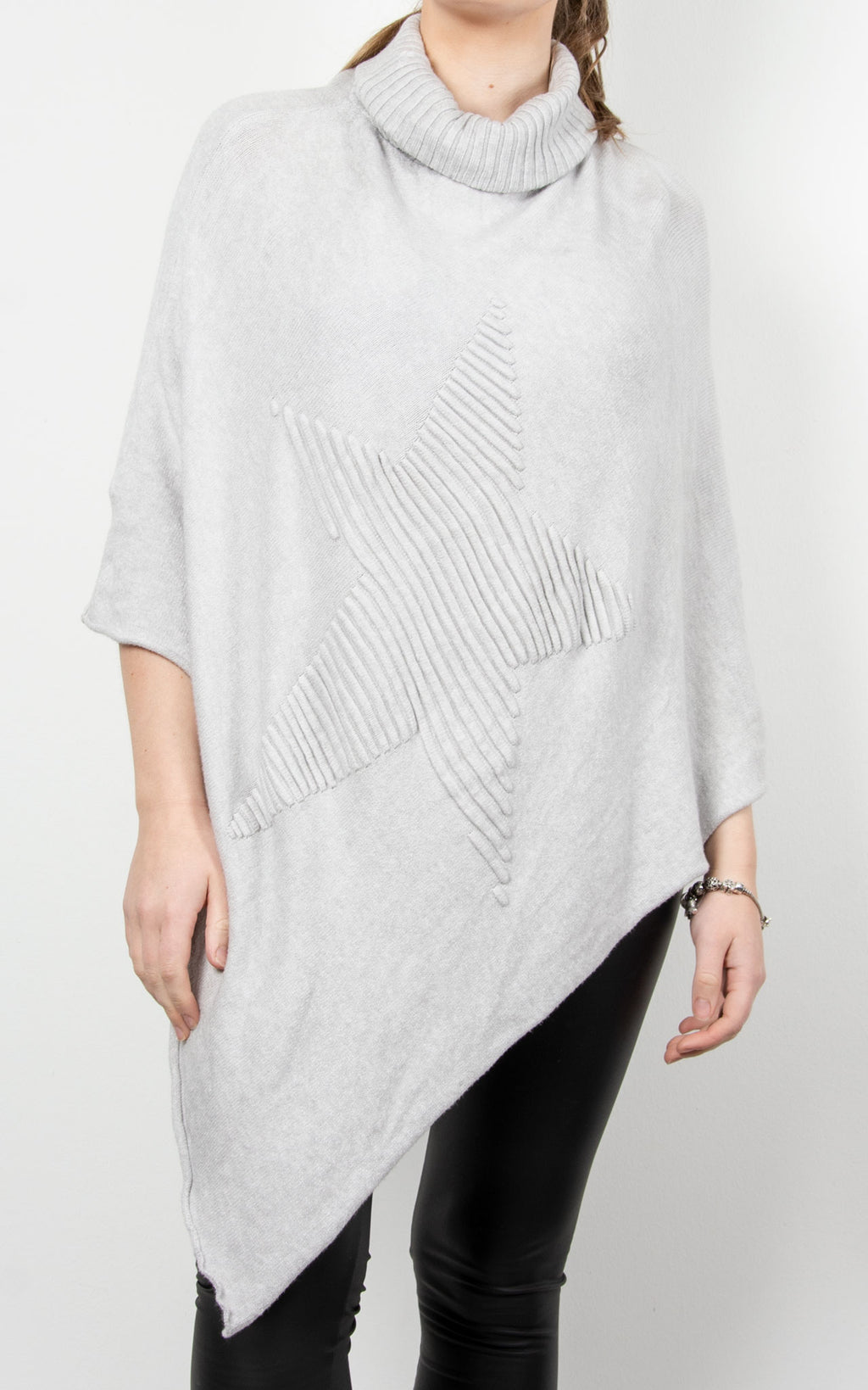 Poncho Roll Neck Star | Grey