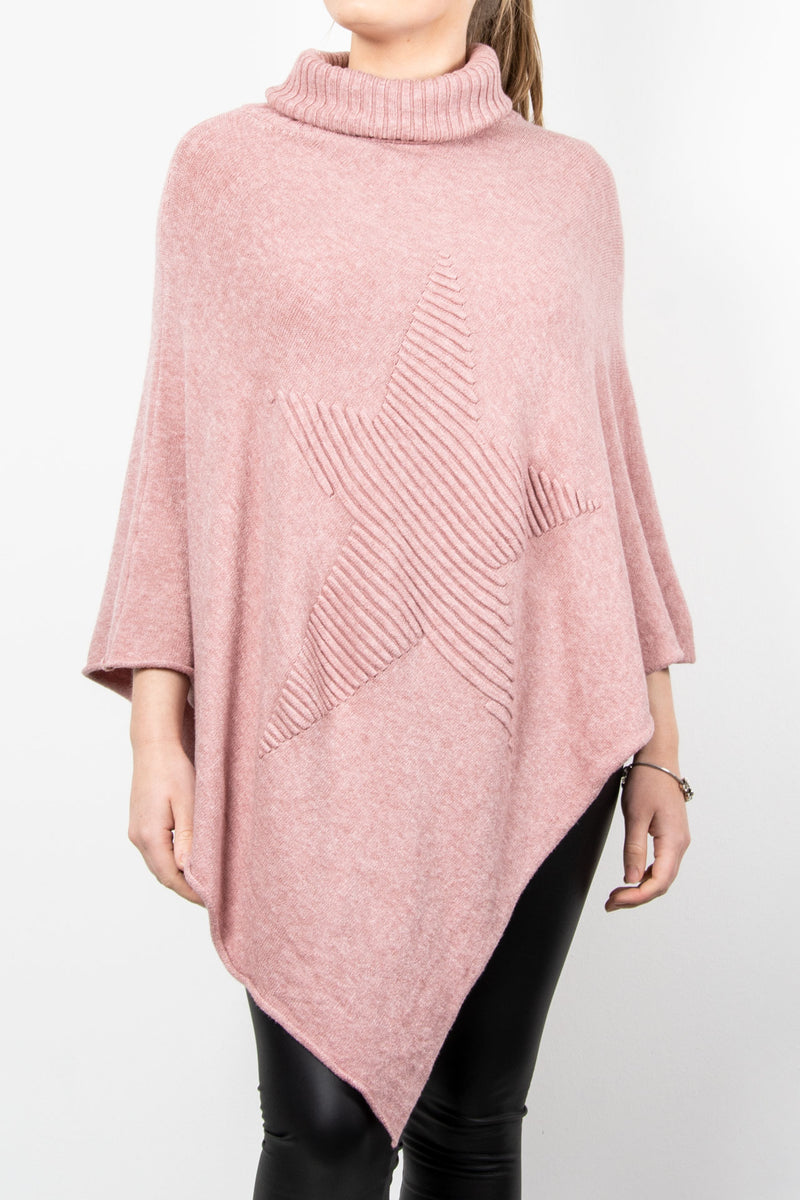 Poncho Roll Neck Star | Pink