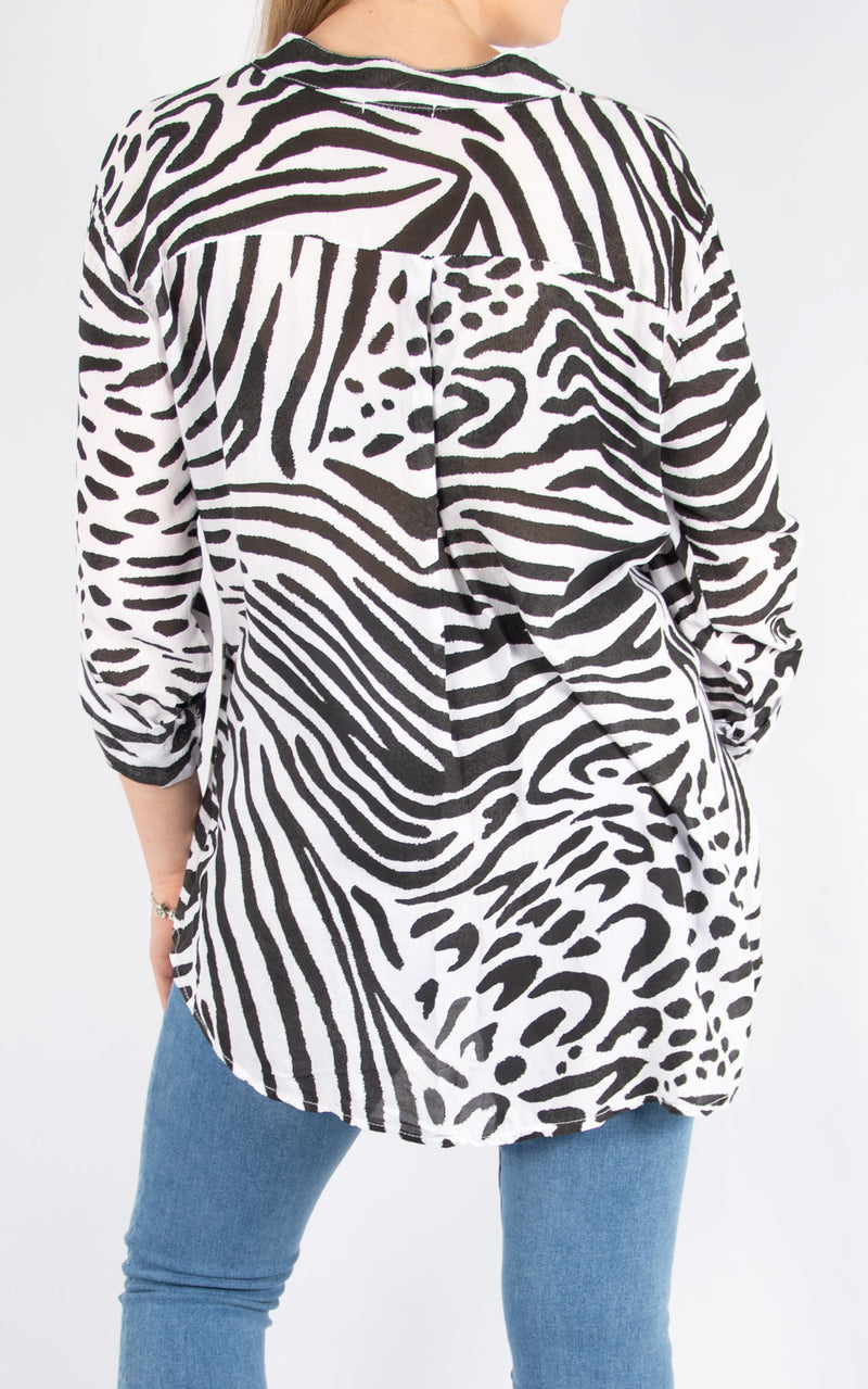 White Animal Print Shirt