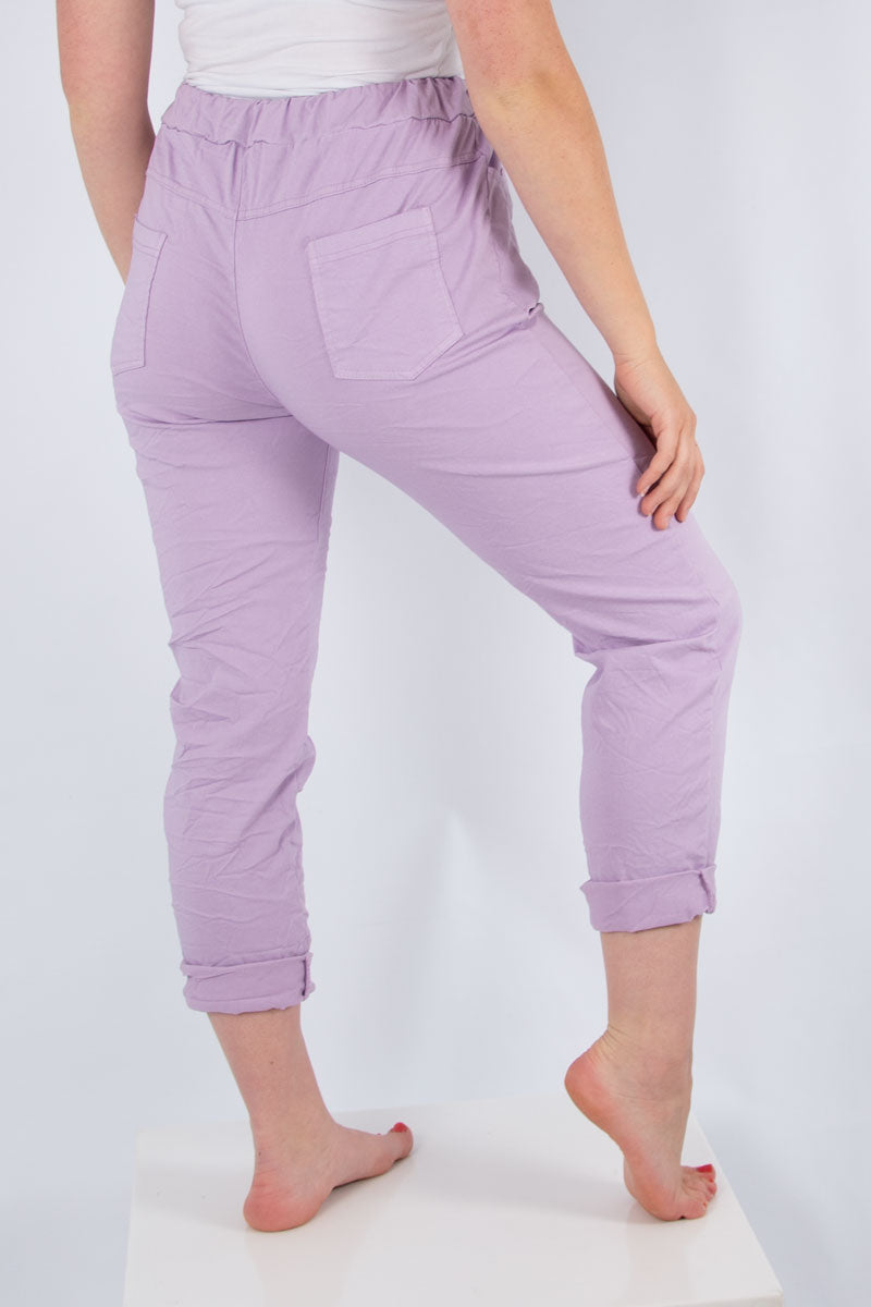 Lilac Plain Stretch Jogger | Made in Italy