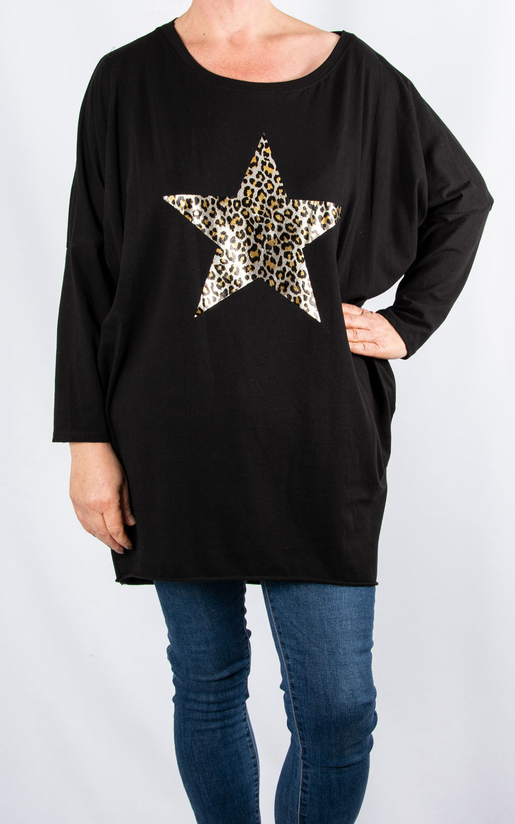 Rachel T Long Sleeve | Leopard Star|Black