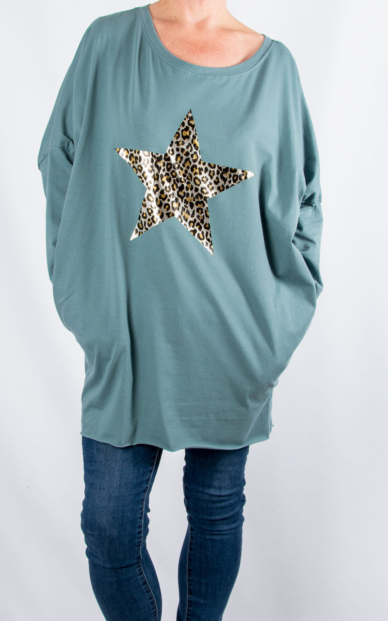 Rachel T Long Sleeve | Leopard Star|Teal