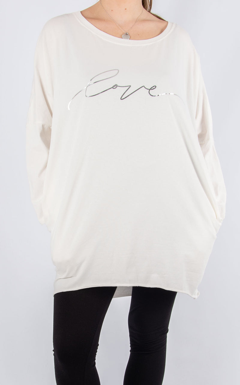 Rachel T Long Sleeve | White Love