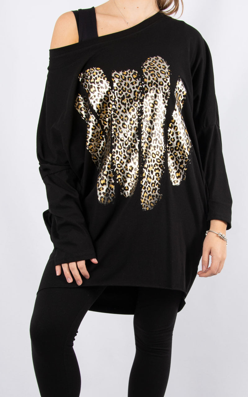 Rachel T Long Sleeve | Leopard Paint Black
