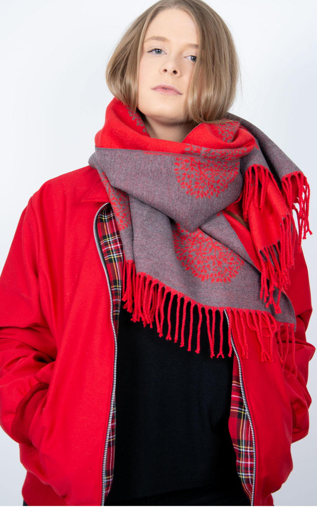 Red Blanket Scarf - Mulberry Tree
