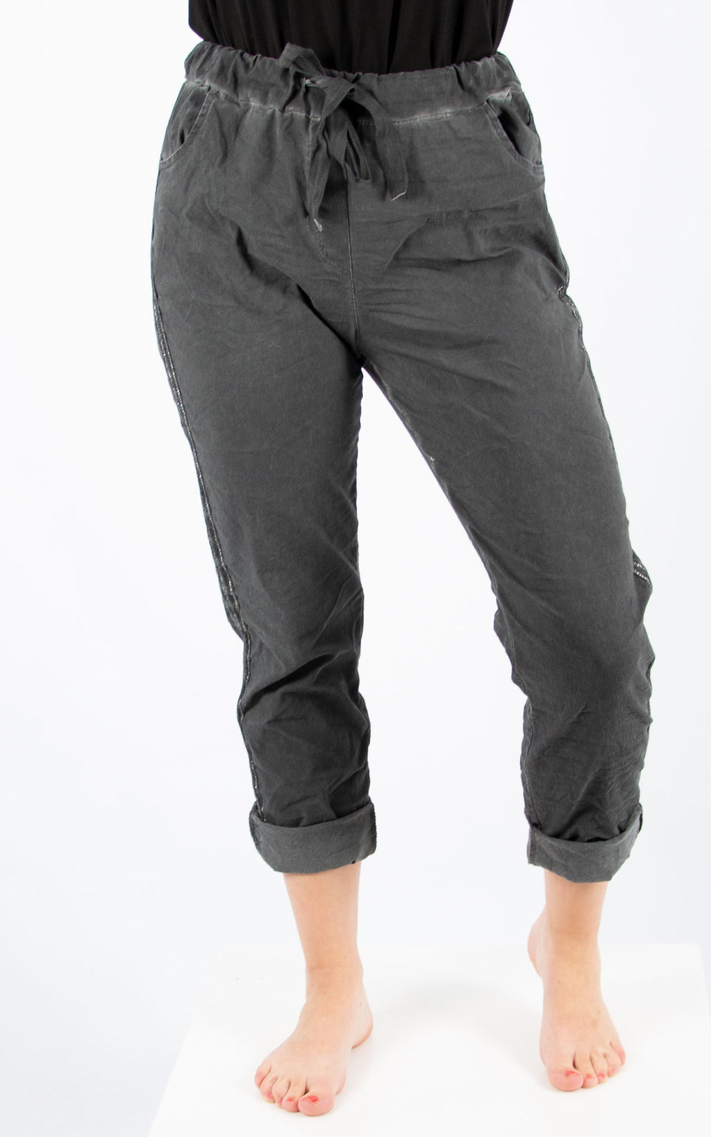 Magic Jogger : Charcoal Side Stripe| Made In Italy