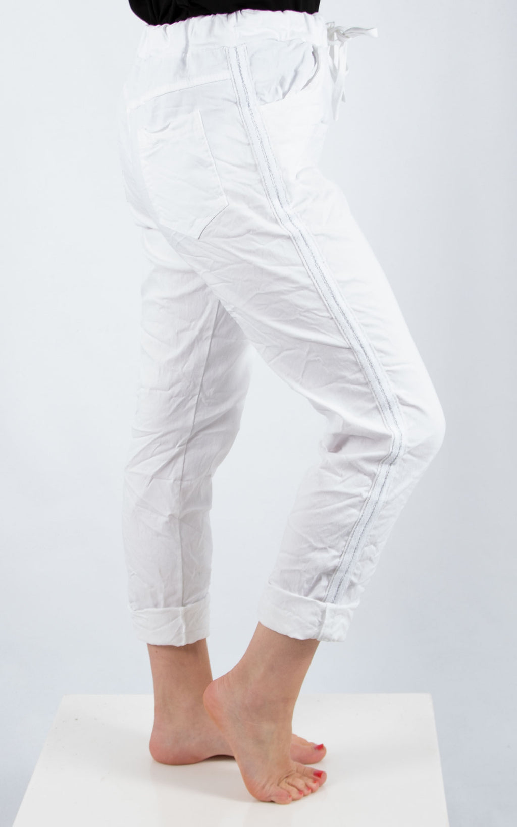 Magic Jogger : White Side Stripe| Made In Italy