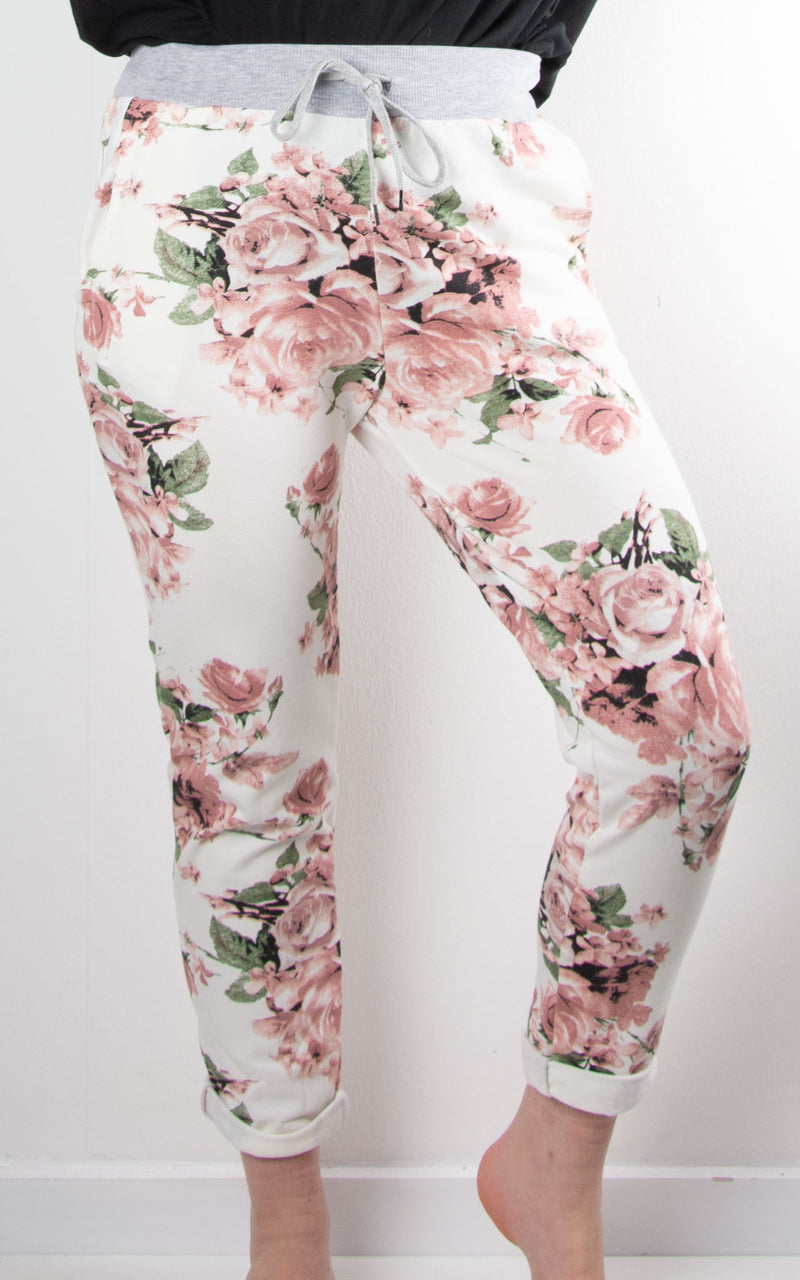 Rose Blossom Basic Jogger | White