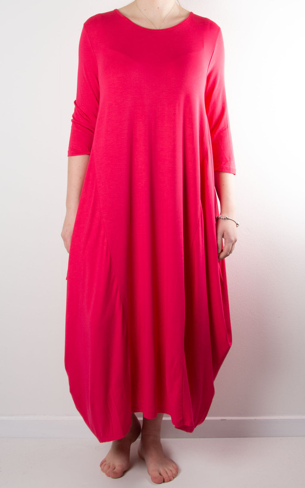 Rose Cocoon Dress | Hot Pink
