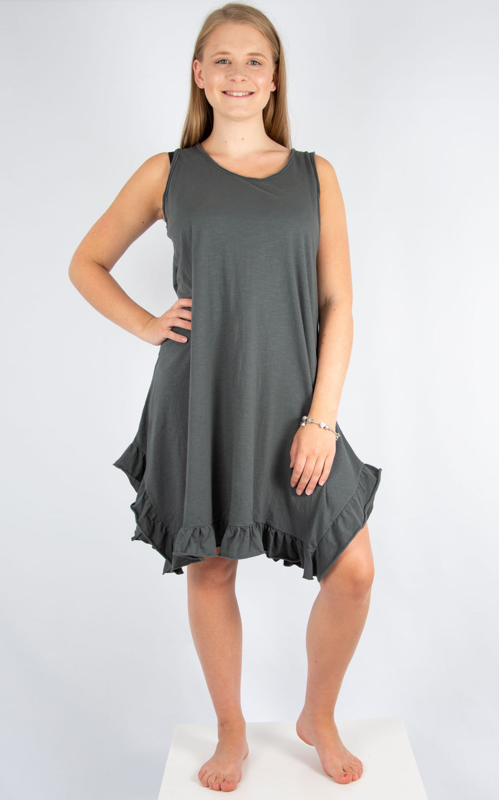 Charcoal Ruffle Bottom Dress | Made In Italy