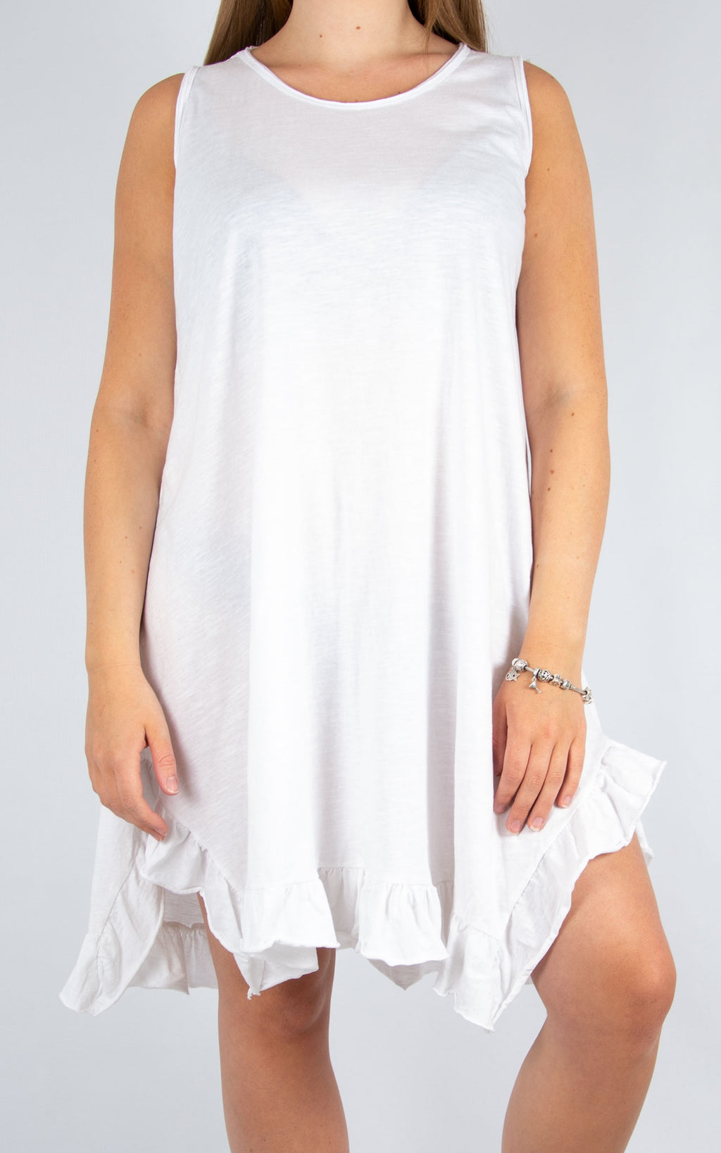 White Ruffle Bottom Dress | Made In Italy