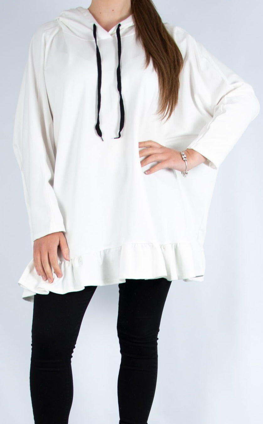 White Ruffle Bottom Hoodie | Made in Italy