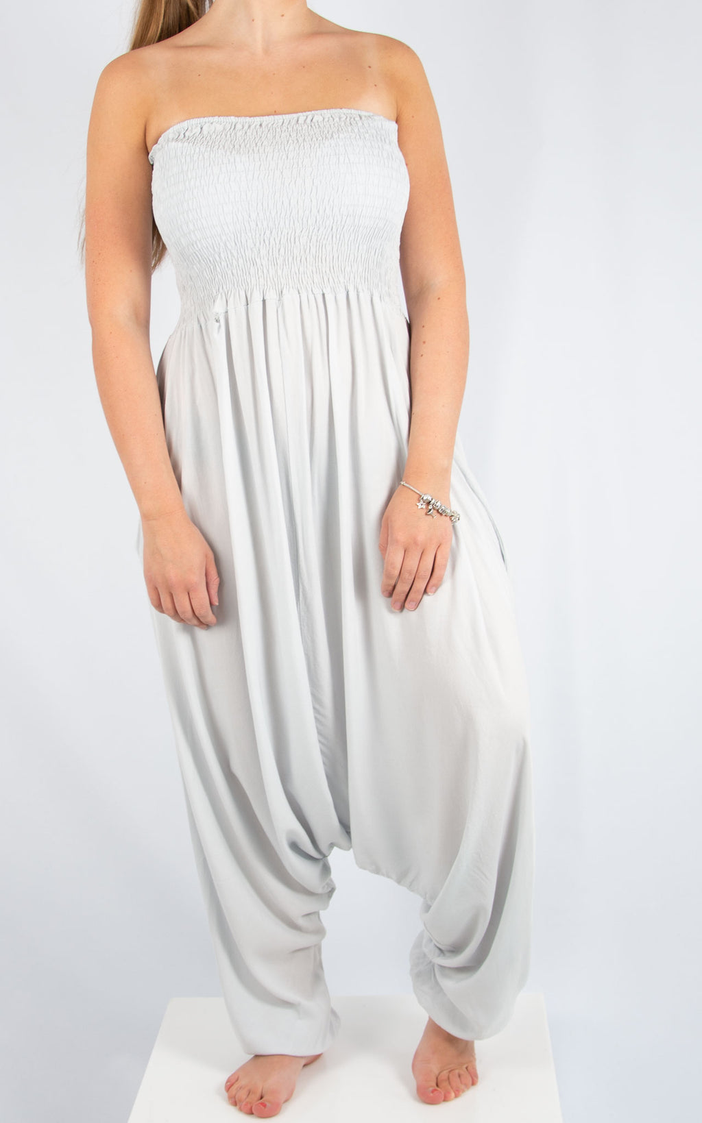 Light Grey Strapless Jumpsuit | Made in Italy