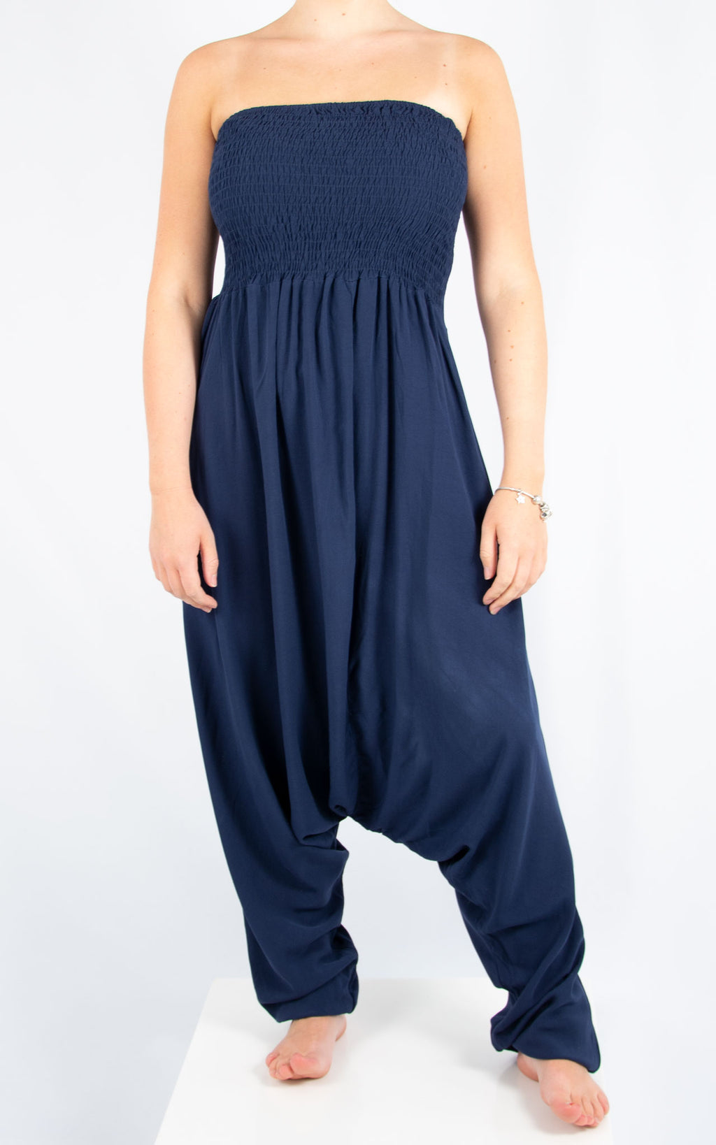 Navy Strapless Jumpsuit | Made in Italy