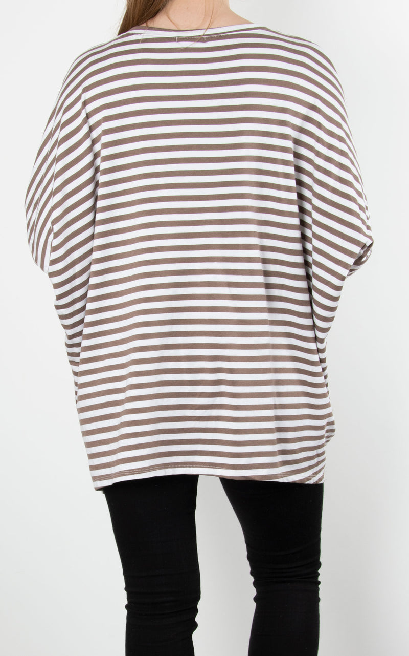 Sandra Stripe Zip Sweat | Mocha