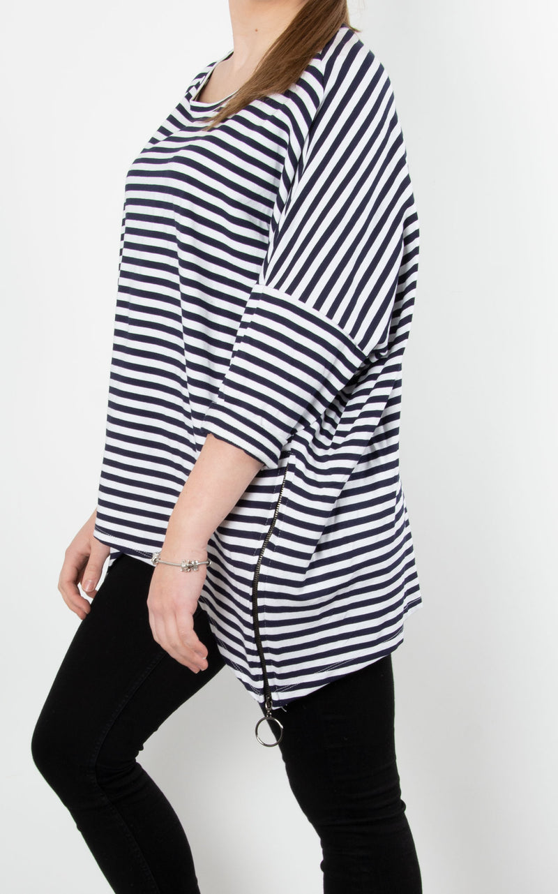 Sandra Stripe Zip Sweat | Navy
