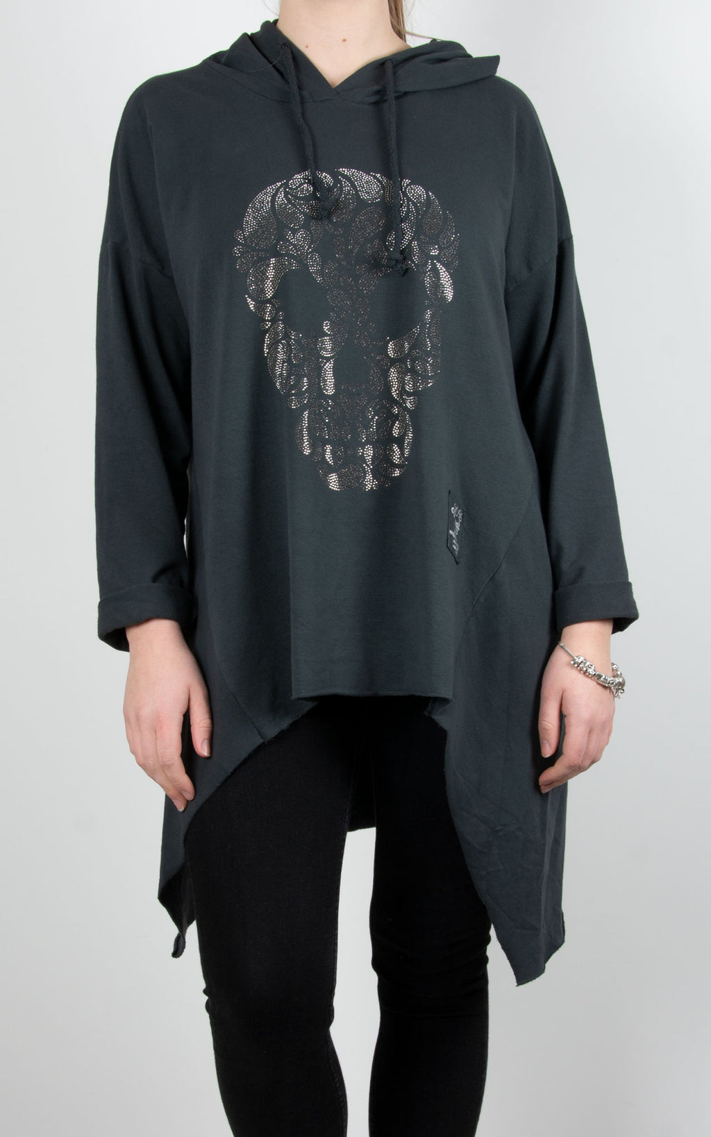 Sparkle Skull Hoodie | Charcoal