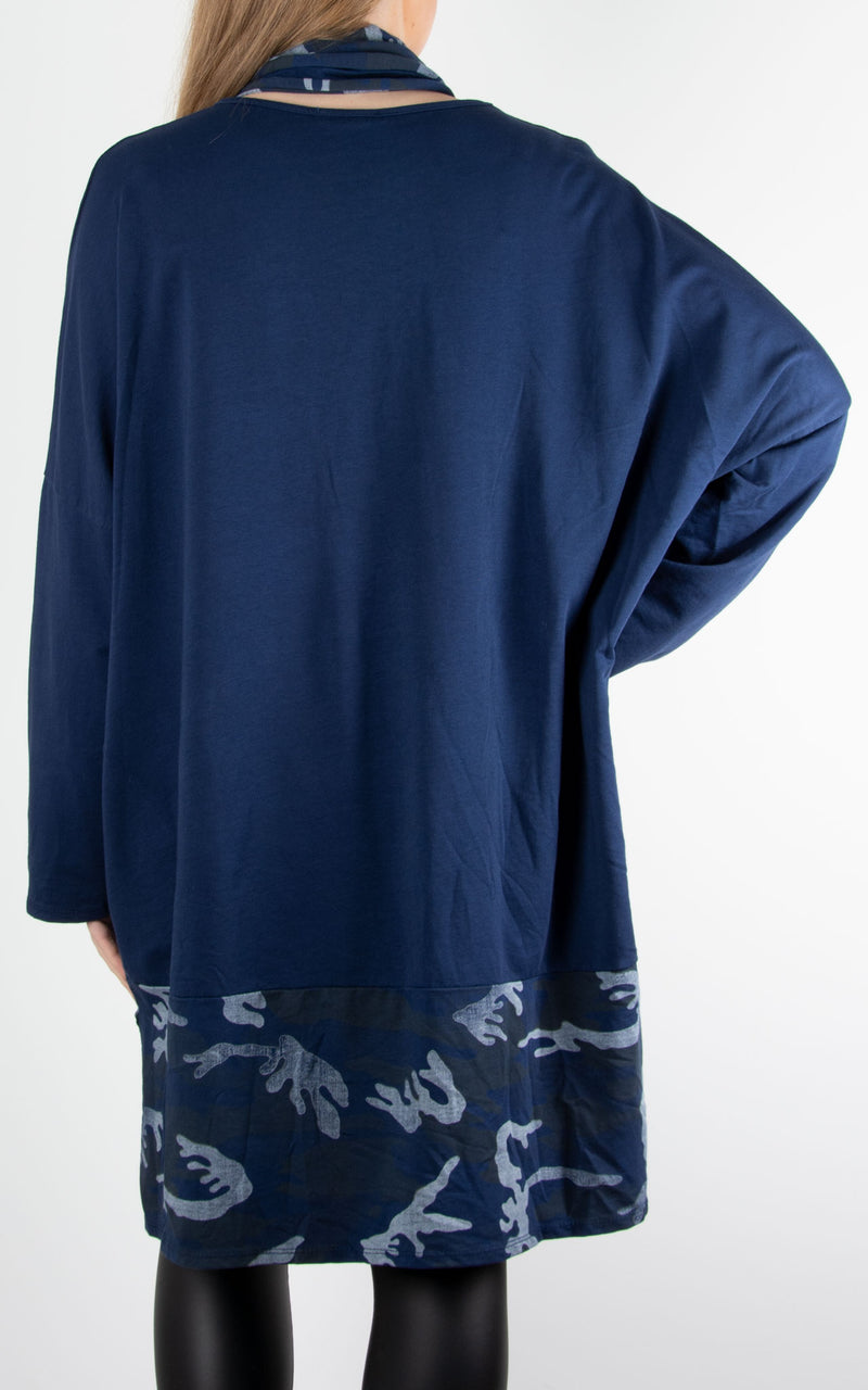 Scarf Top Camo | Navy