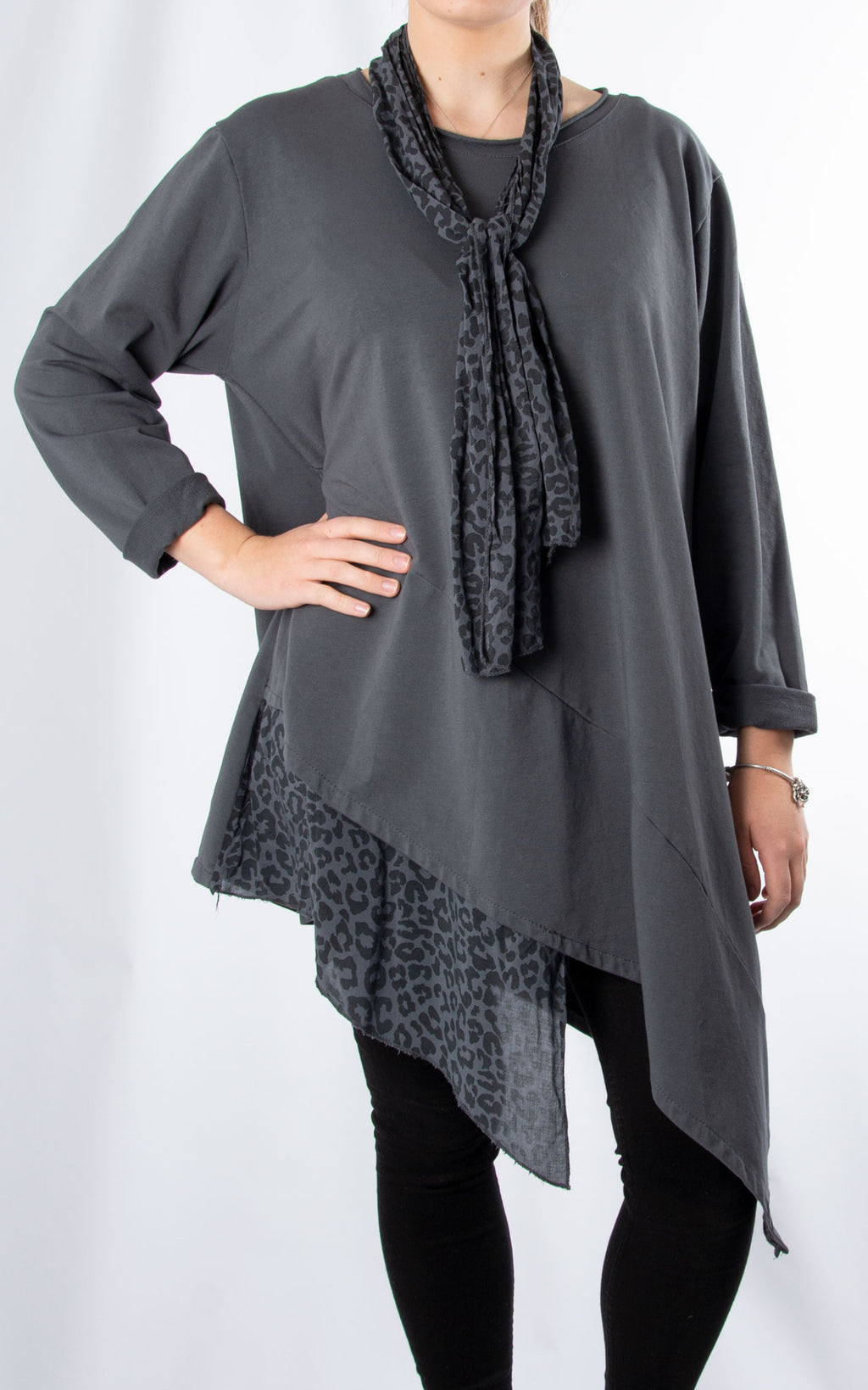 Scarf Leopard Hem Top | Charcoal