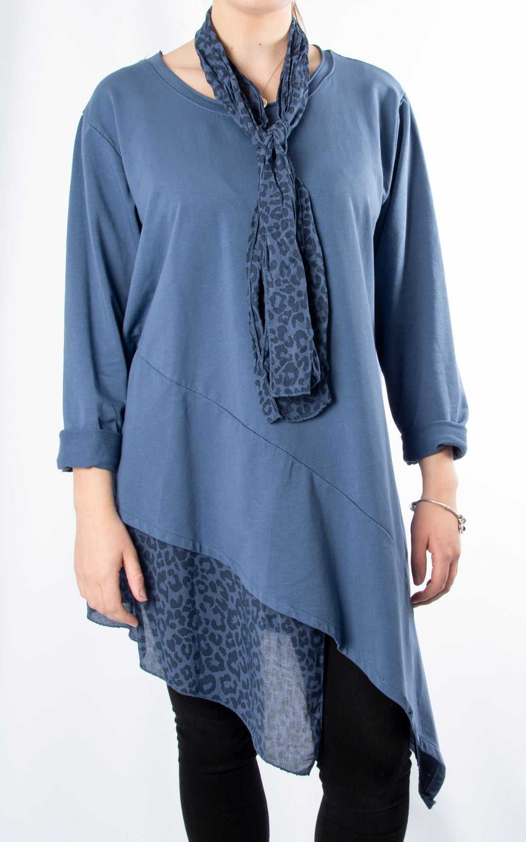 Scarf Leopard Hem Top | Denim Blue