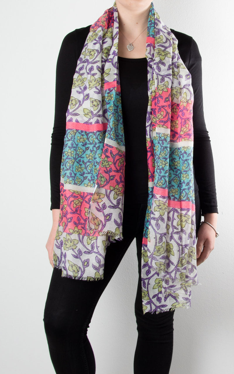 Scarf | Block Ivy | Blue, Pink & White