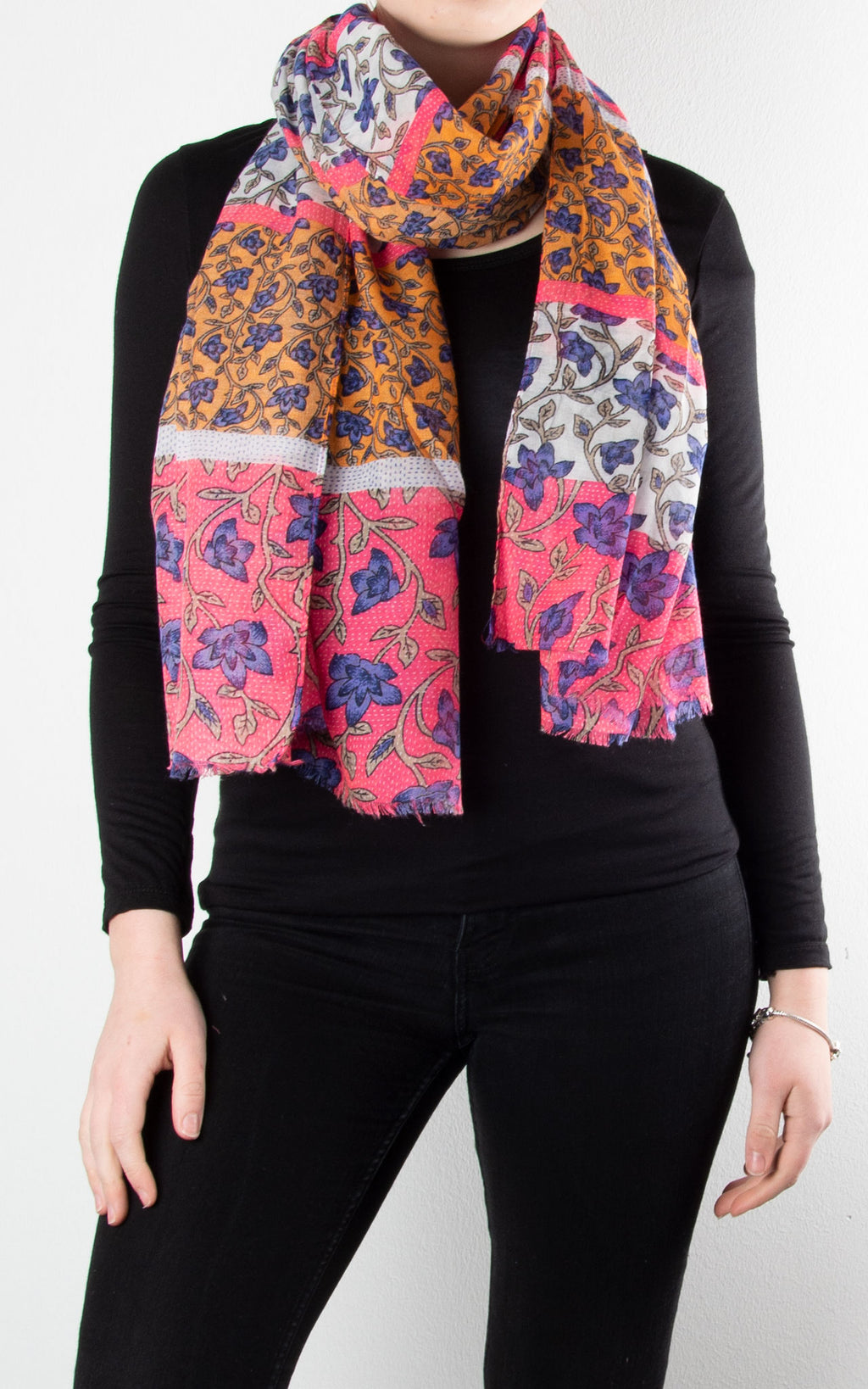 Scarf | Block Ivy | Pink, White & Orange