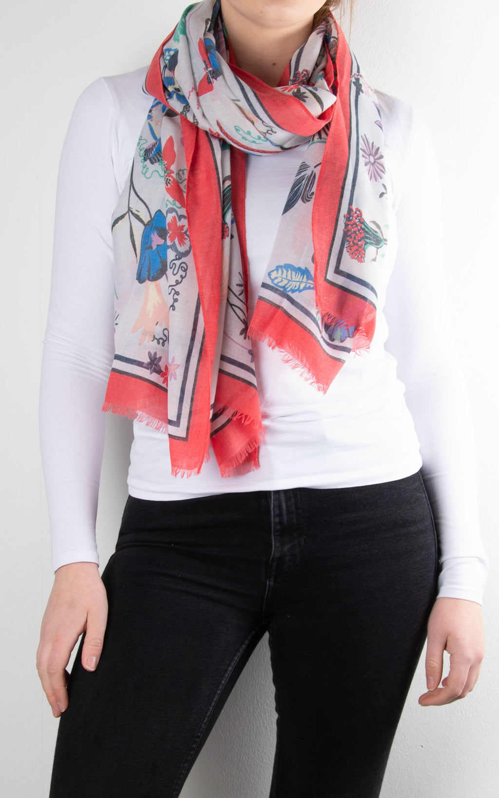 Scarf | Floral Bordered | Coral