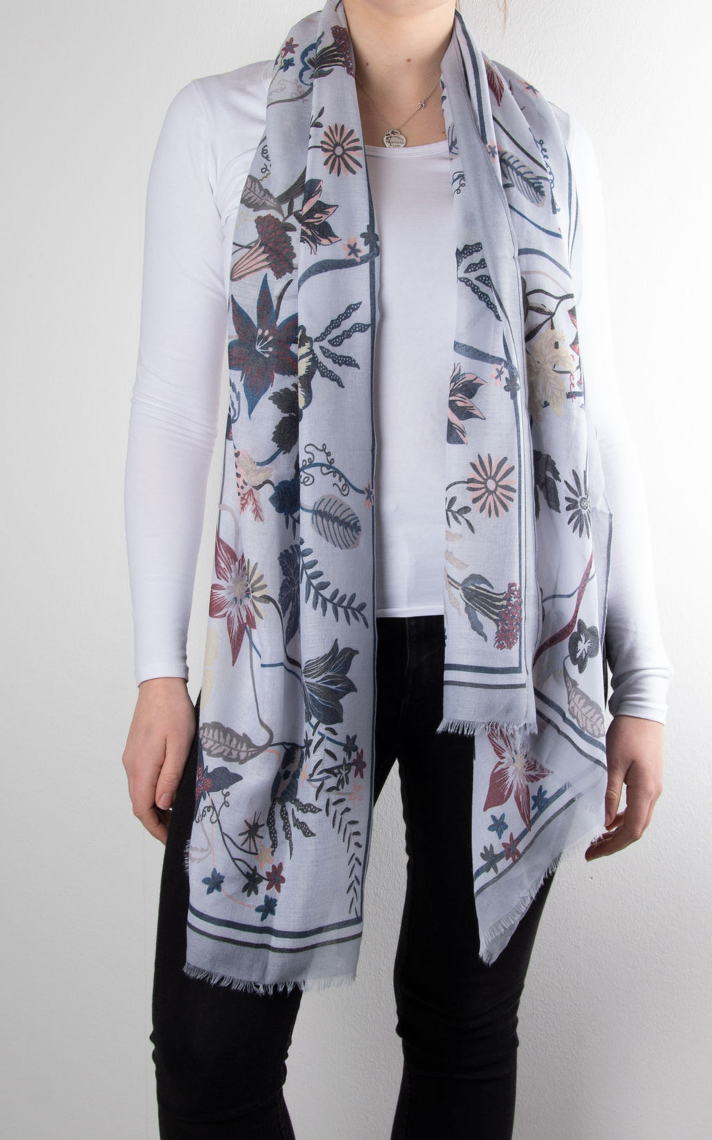Scarf | Floral Bordered | Grey