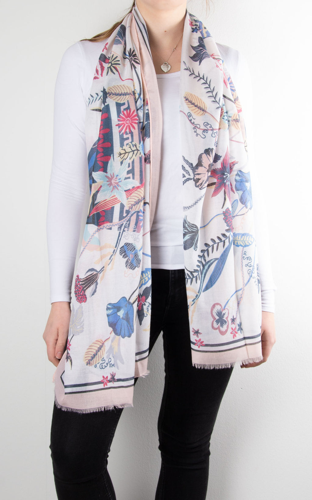 Scarf | Floral Bordered | Pink