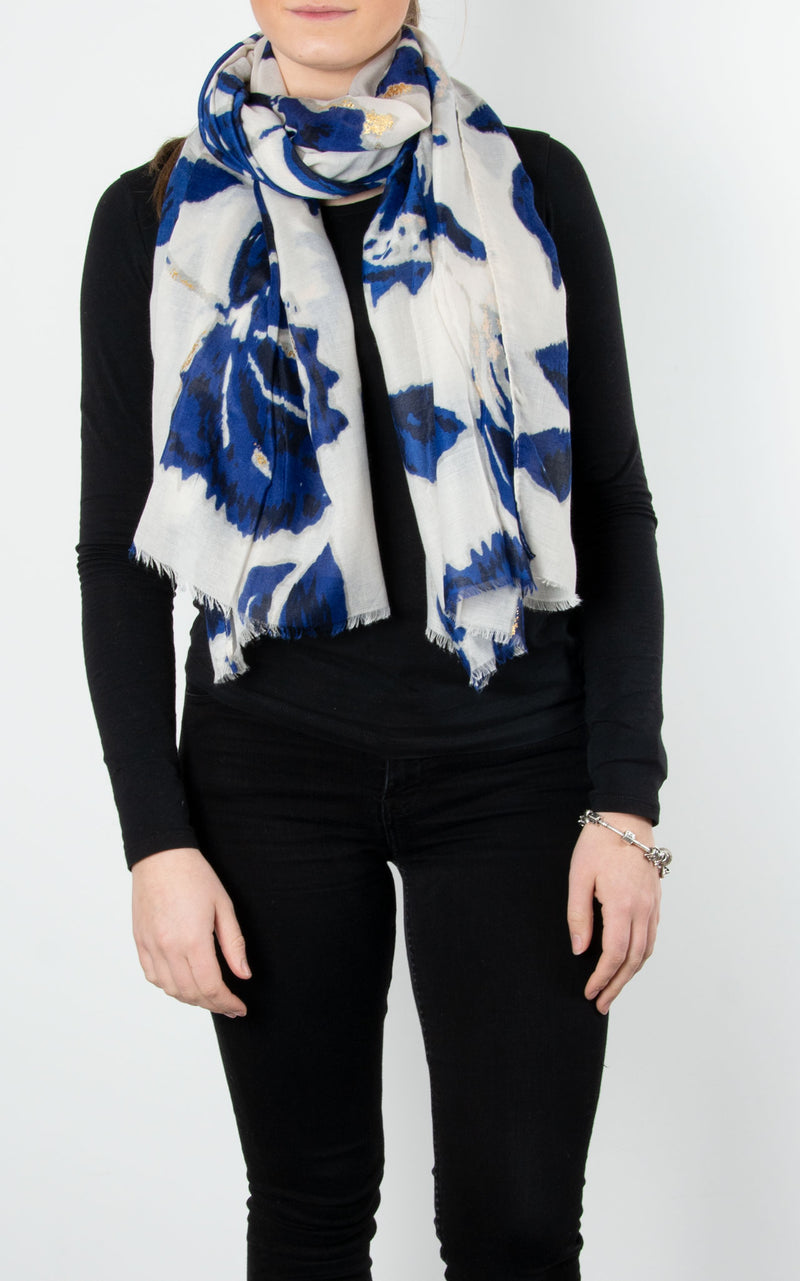 Scarf | Floral | Blue, Grey & Gold