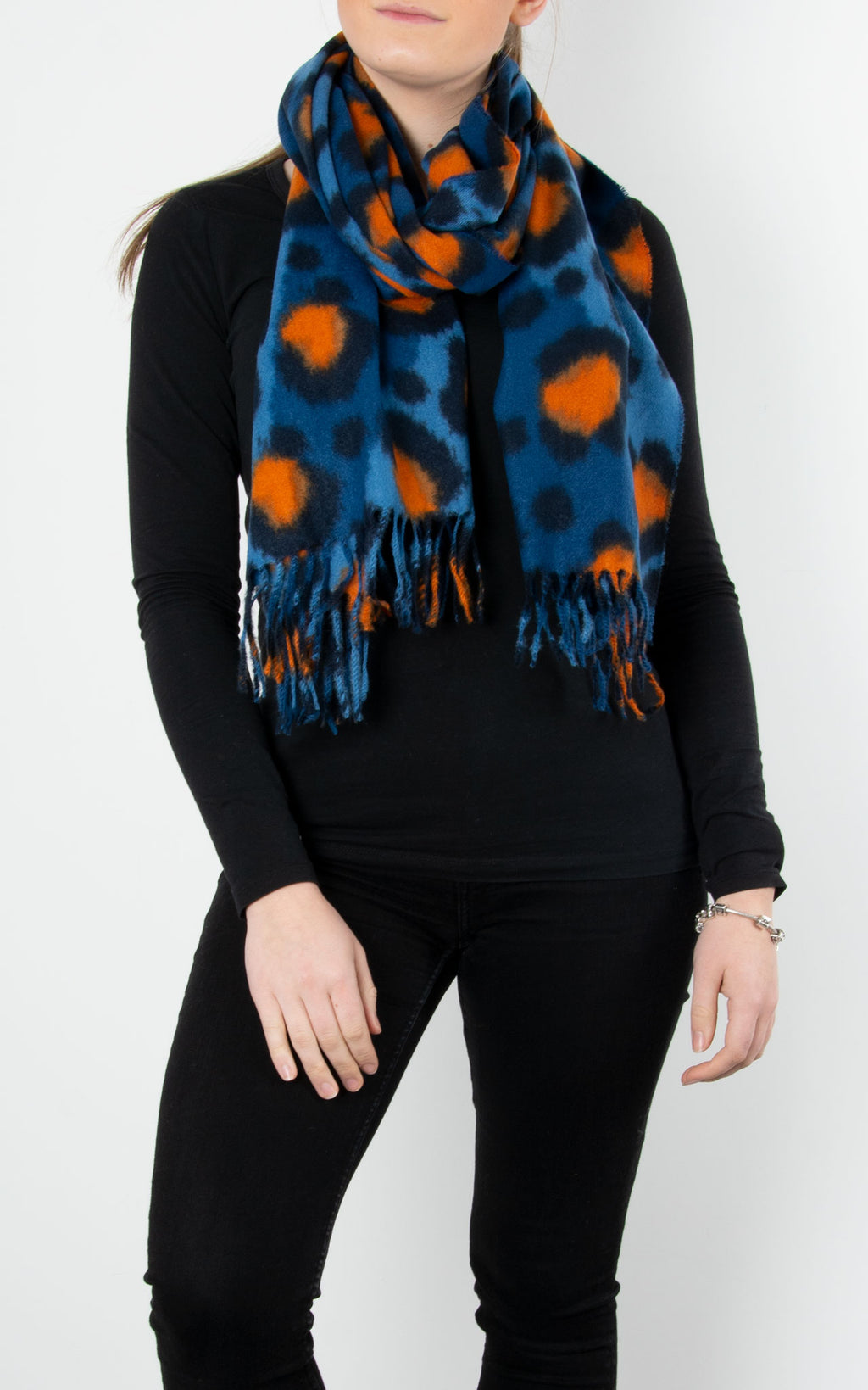 Scarf | Leopard | Blue & Orange
