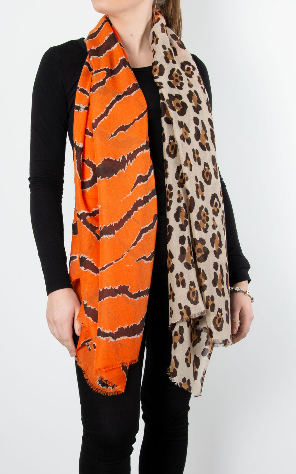 Scarf | Leopard & Tiger | Orange