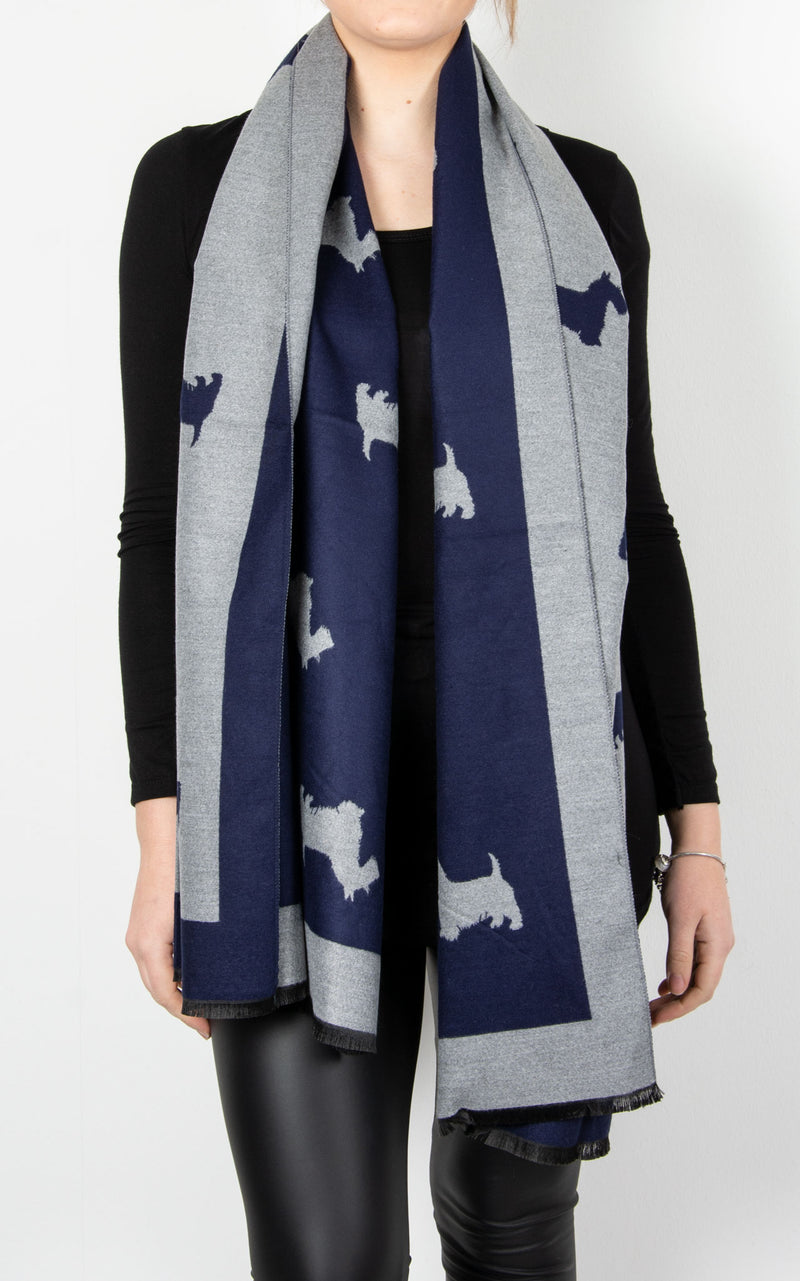 Scarf | Navy Scotty Dog