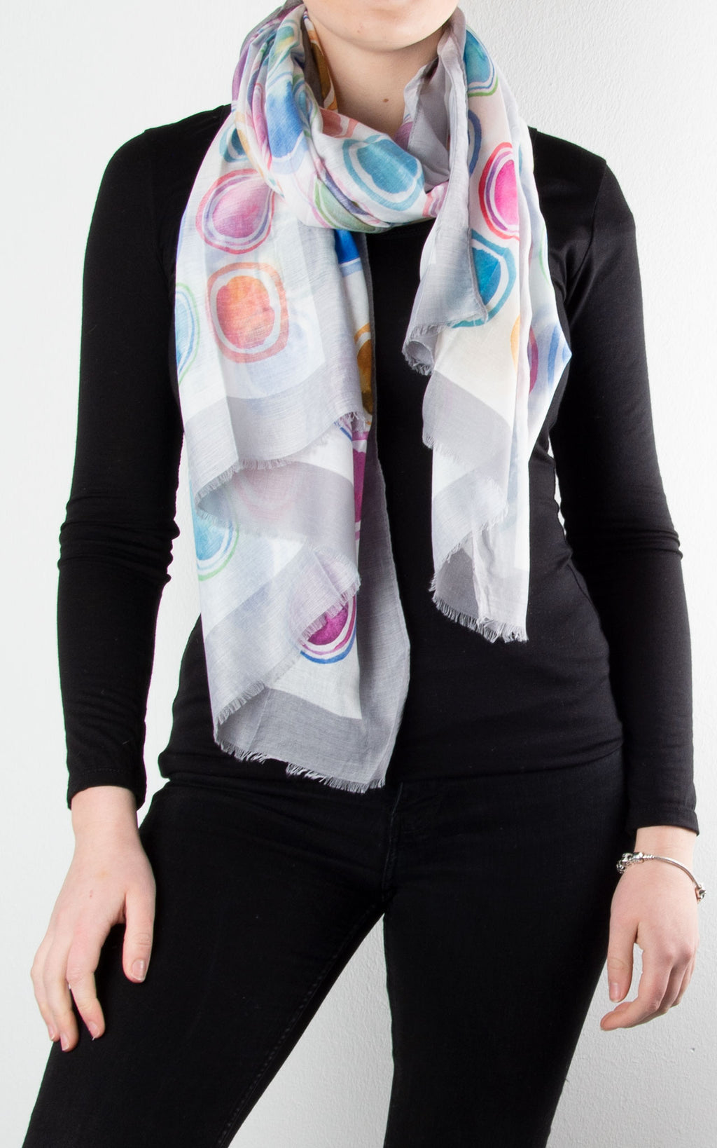 Scarf | Watercolour Circle | White