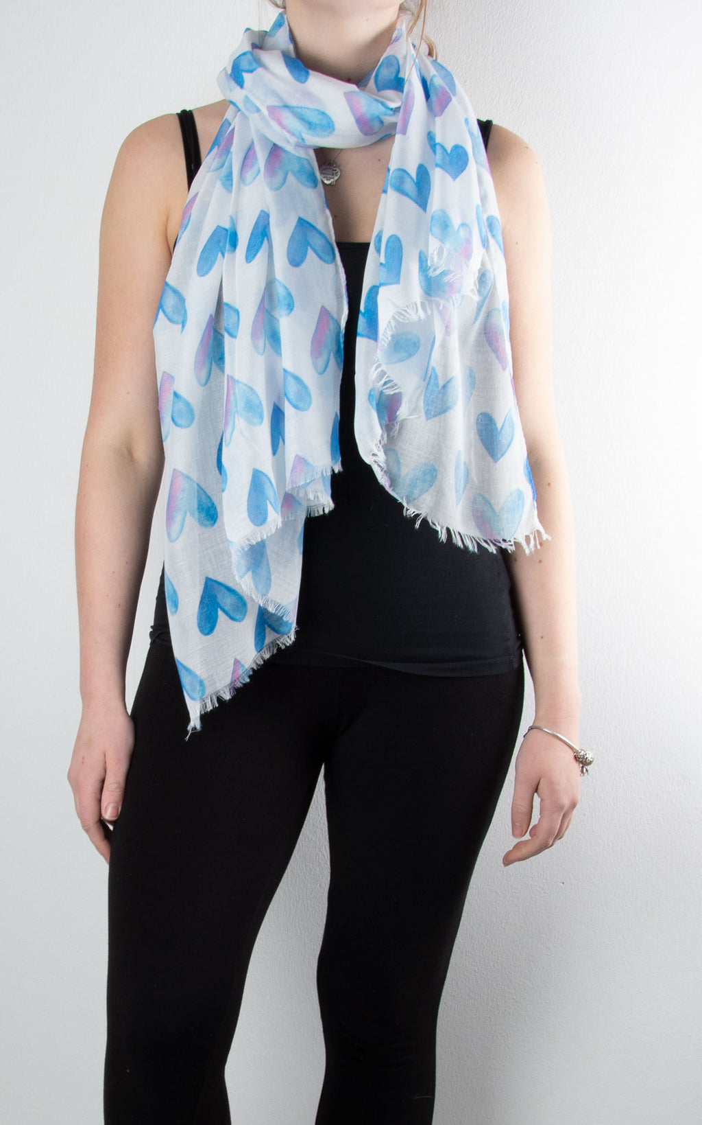 Scarf | Watercolour Hearts | Blue