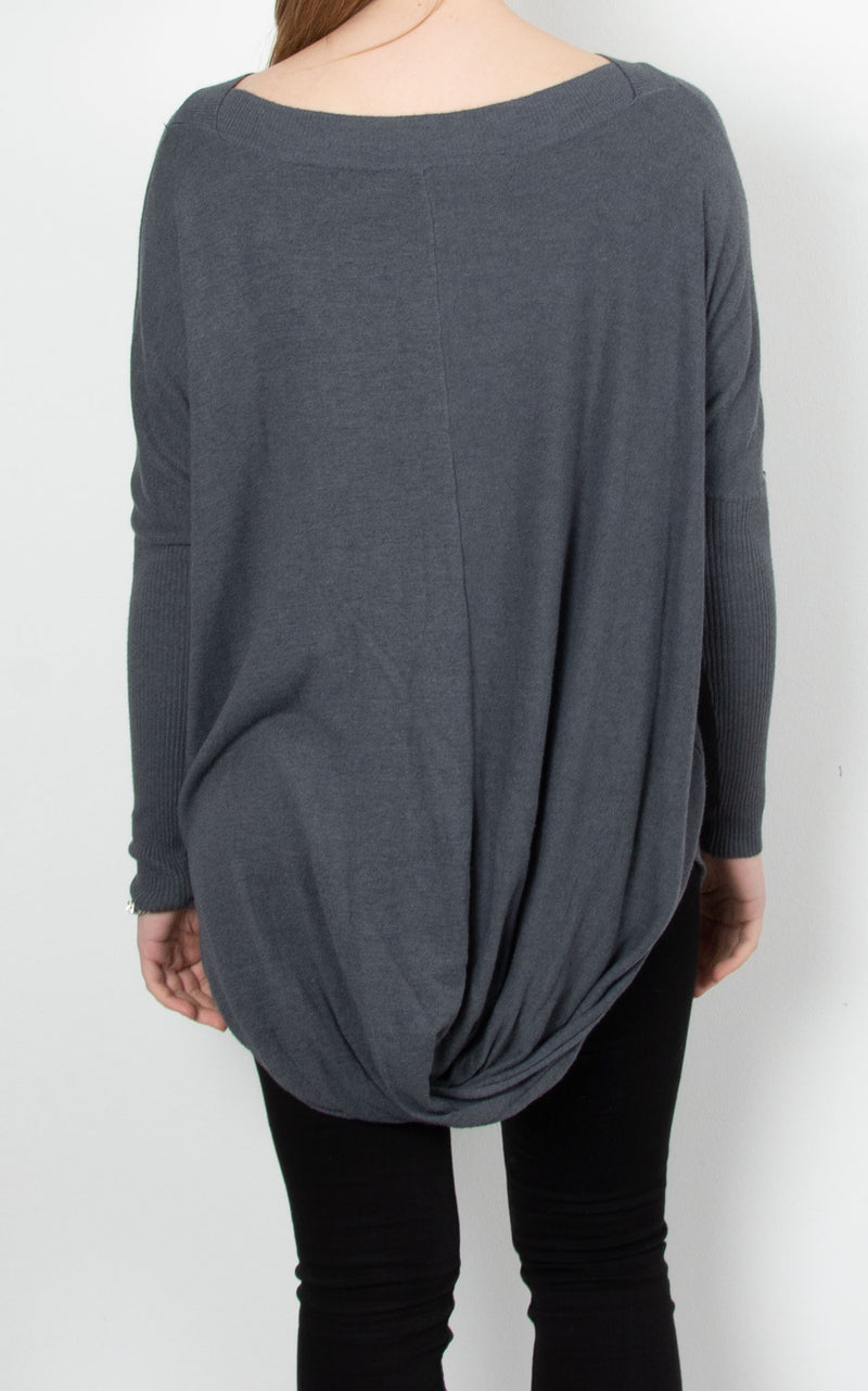 Scoop Bottom Knit | Charcoal