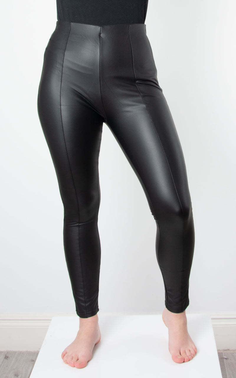 Seam Leather Look Leggings