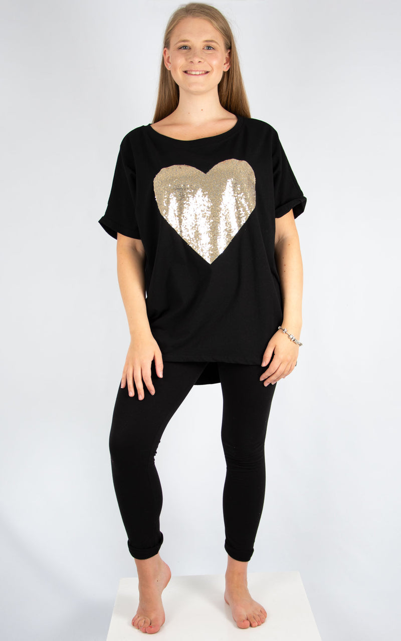 Black Gold Sequin Heart T | Made In Italy