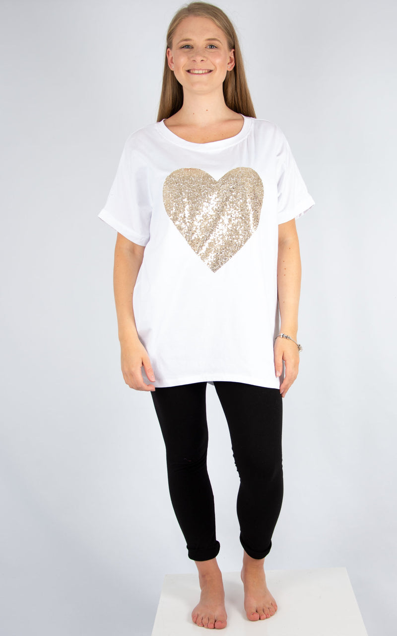 White Gold Sequin Heart T | Made In Italy