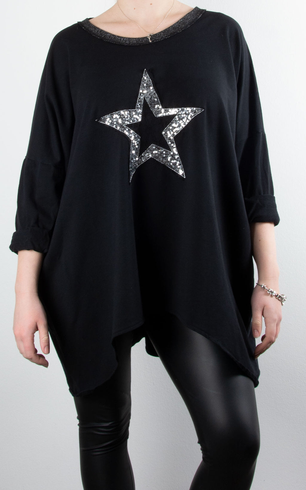 Sequin Lace Star | Black