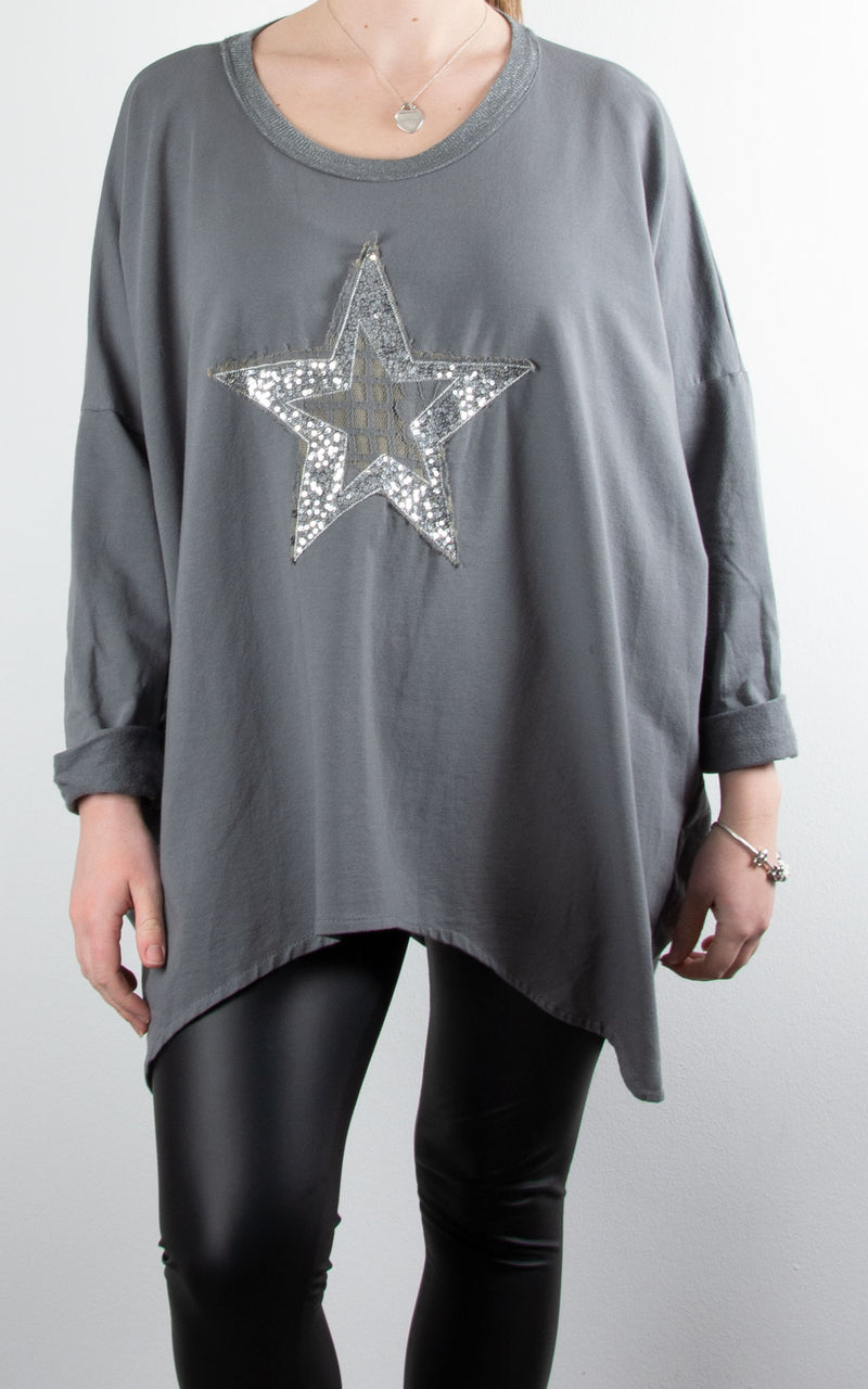 Sequin Lace Star | Charcoal