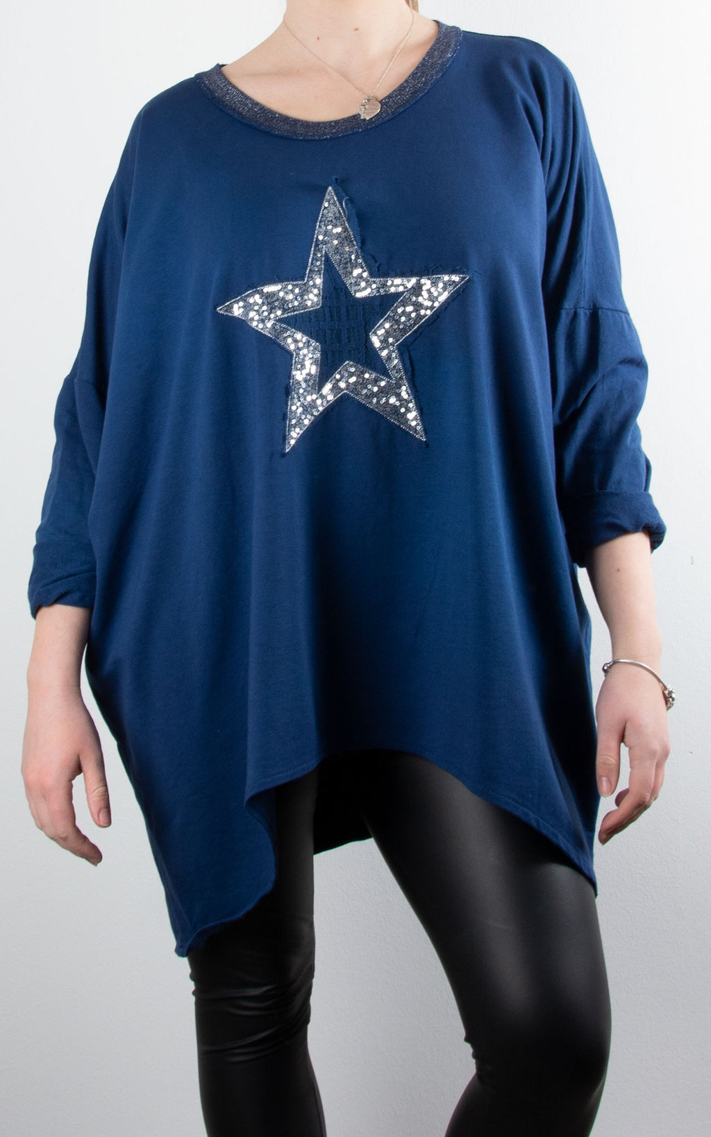 Sequin Lace Star | Navy