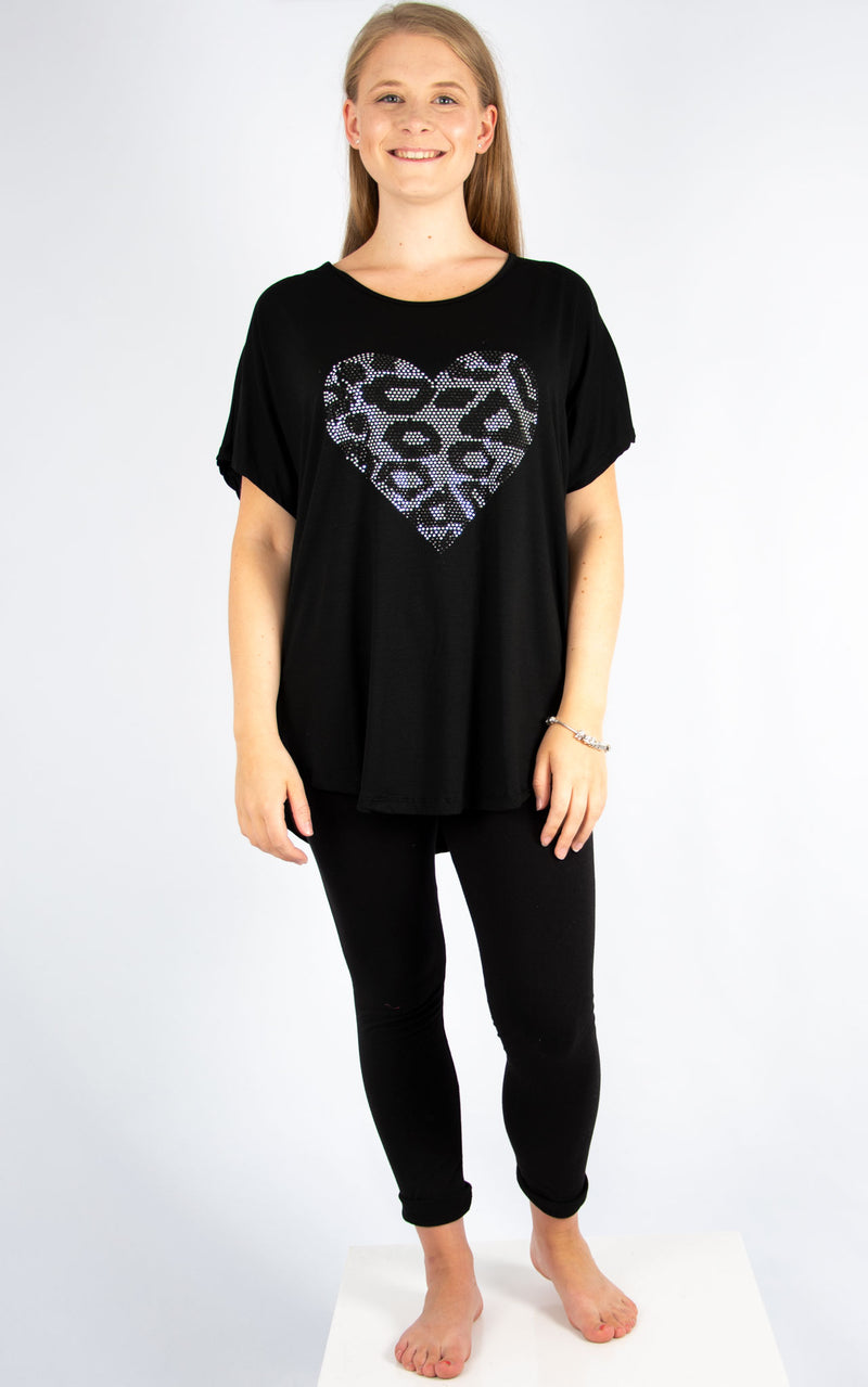 Black Sequin Leopard Heart | Made in Italy