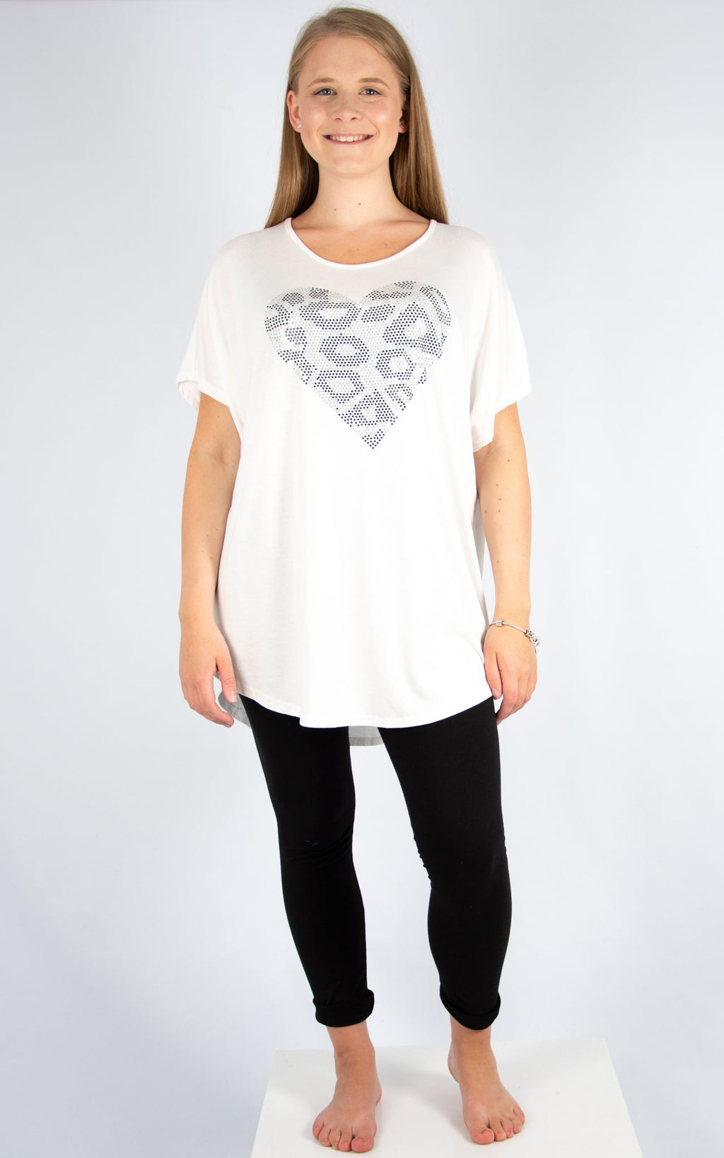 White Sequin Leopard Heart | Made in Italy