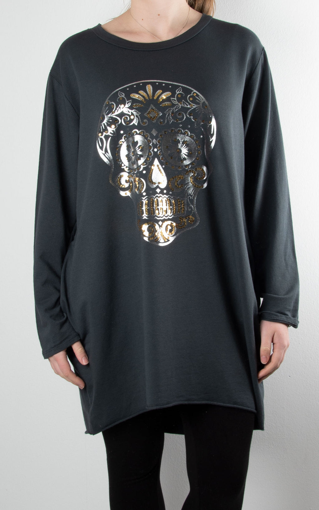 Sequin Skull Tunic | Charcoal