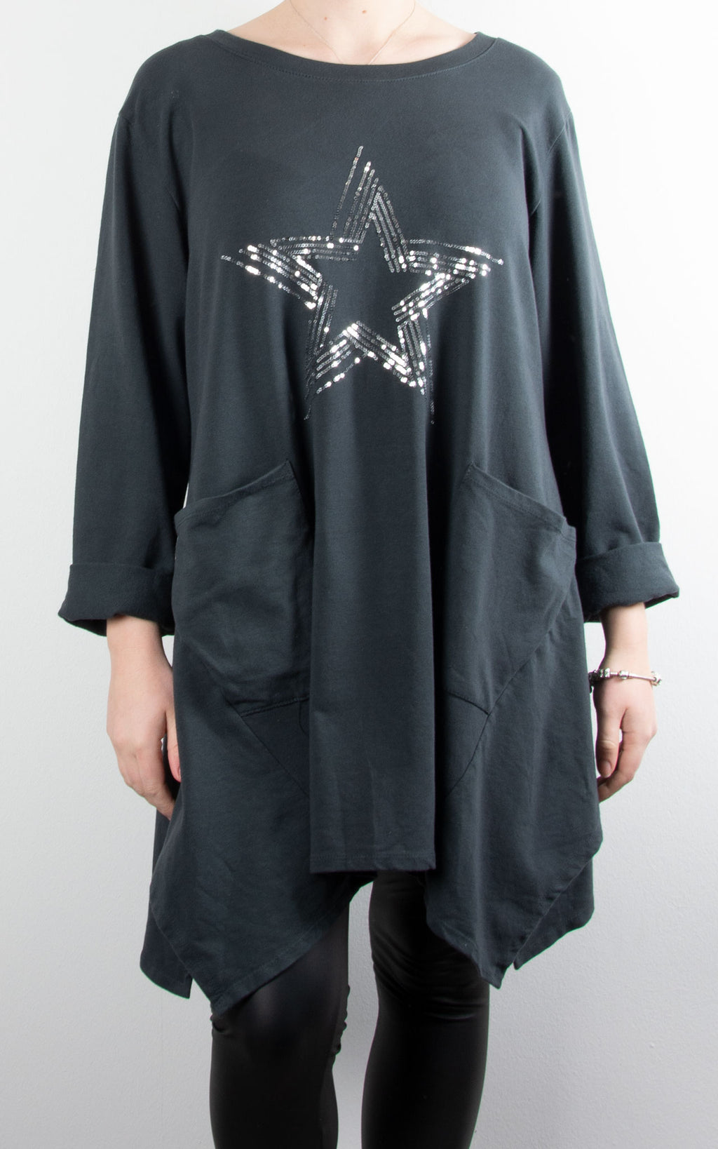 Sequin Star Pocket Tunic | Charcoal