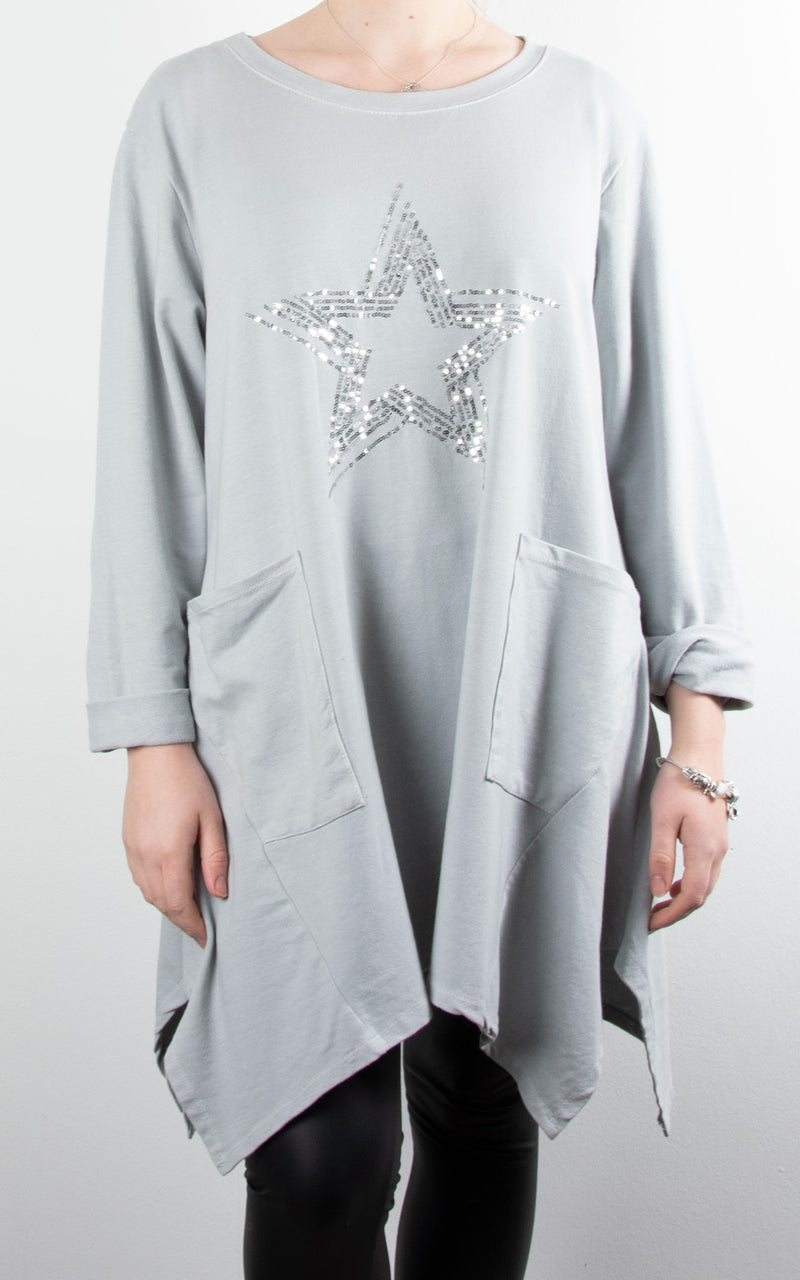 Sequin Star Pocket Tunic | Grey