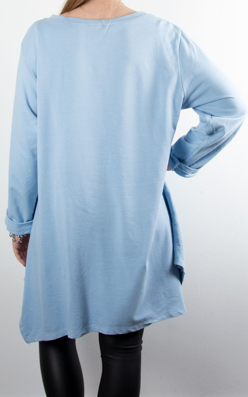 Sequin Star Pocket Tunic | Sky Blue