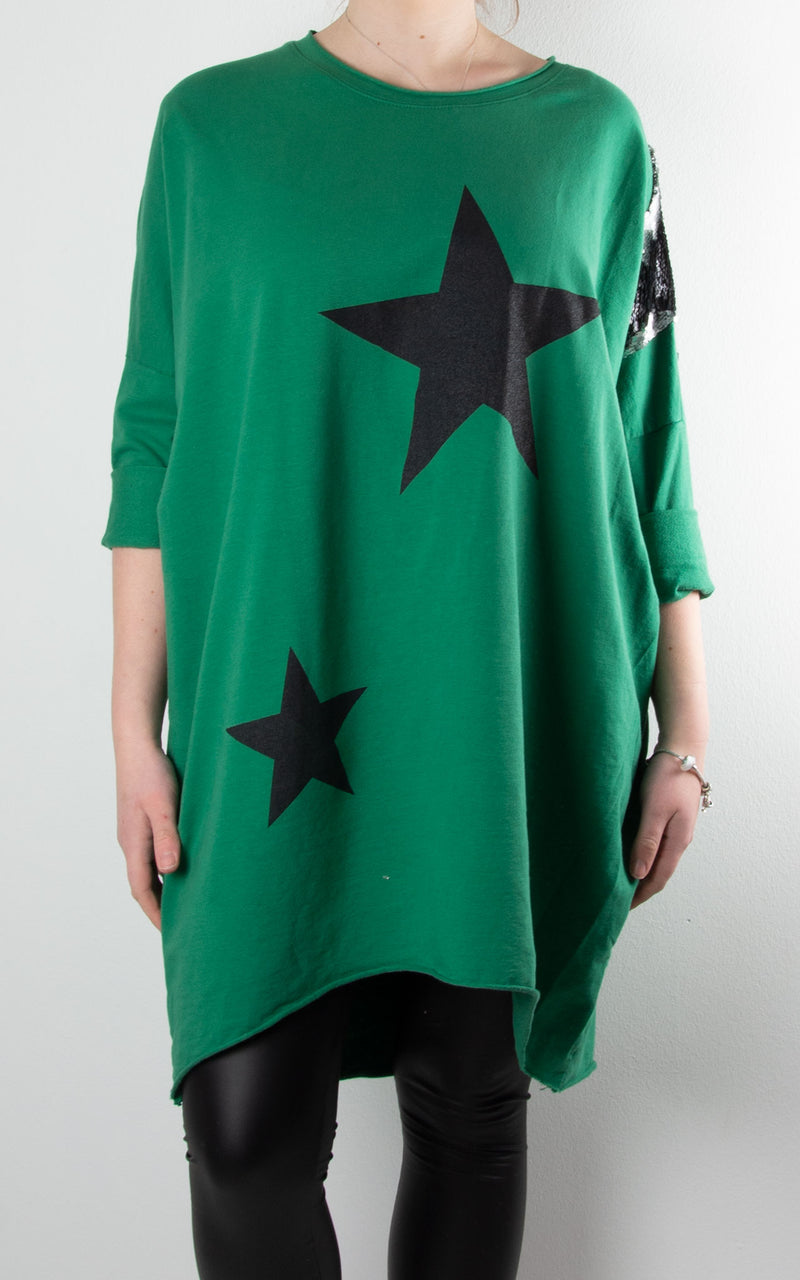 Sequin Star Shoulder Sweat | Green